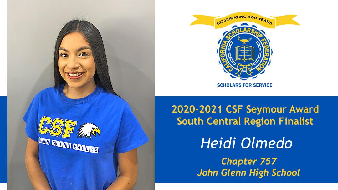 Heidi Olmedo is a Seymour Award 2020-2021 South Central Region Finalist