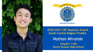 Nathan Miranda is a Seymour Award 2020-2021 South Central Region Finalist