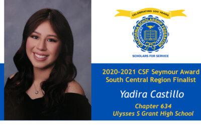 Yadira Castillo Seymour Award 2020-2021 South Central Region Finalist