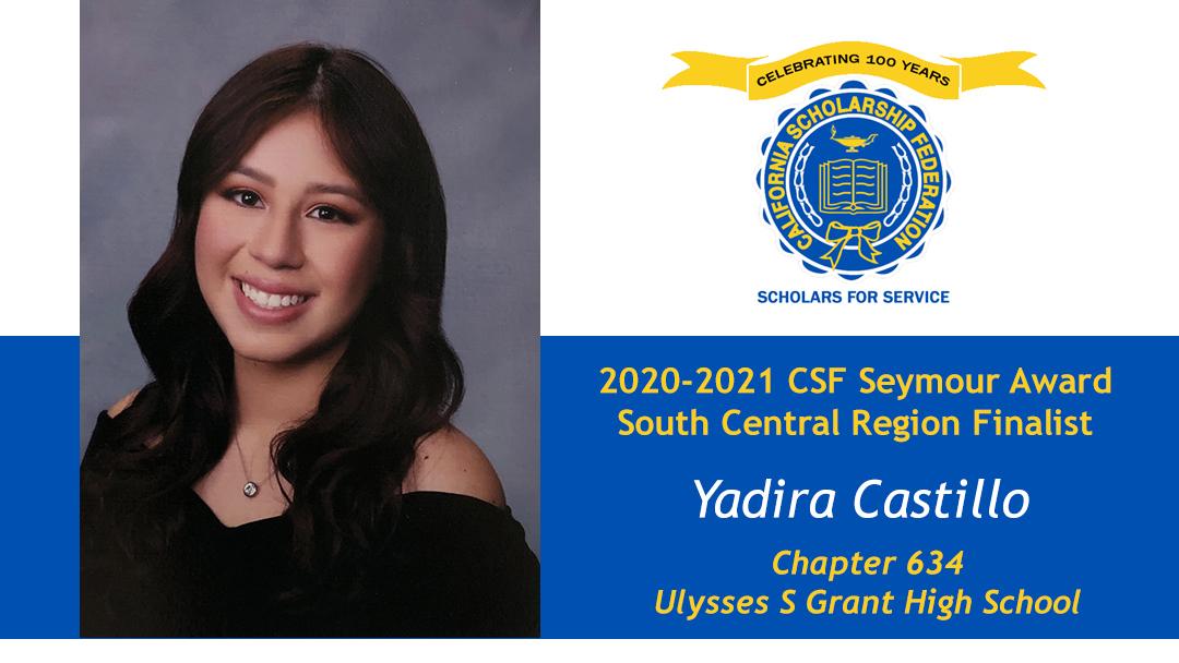 Yadira Castillo is a Seymour Award 2020-2021 South Central Region Recipient