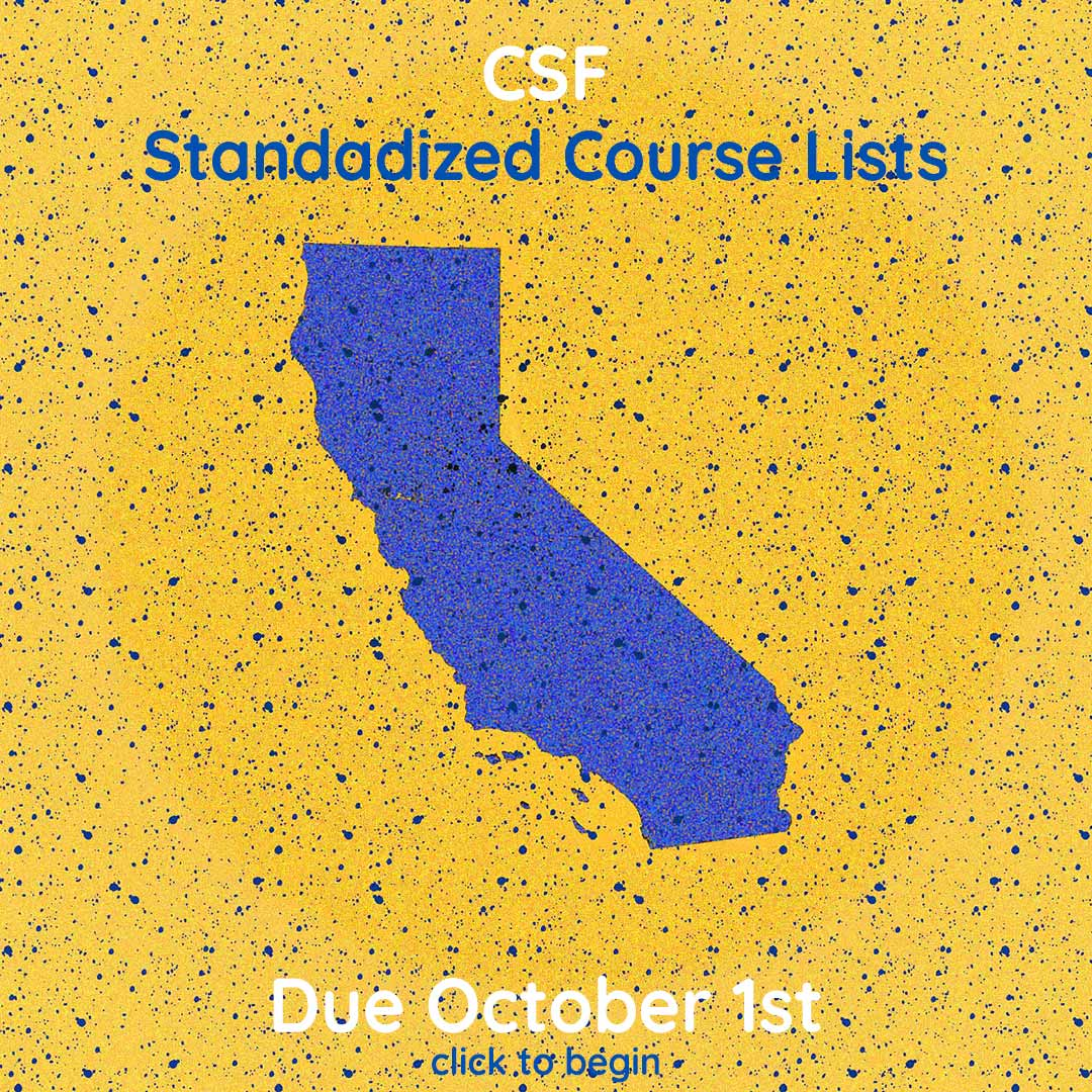 CSF Standardized Course Lists are due October 1st