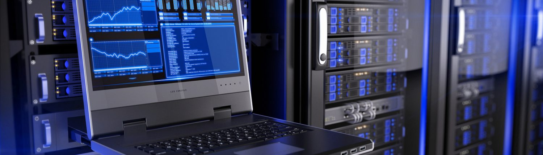 laptop in server room