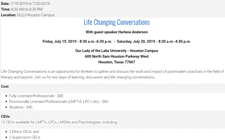 Life changing conversations 2019