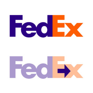 FedEx logo design with negative space arrow