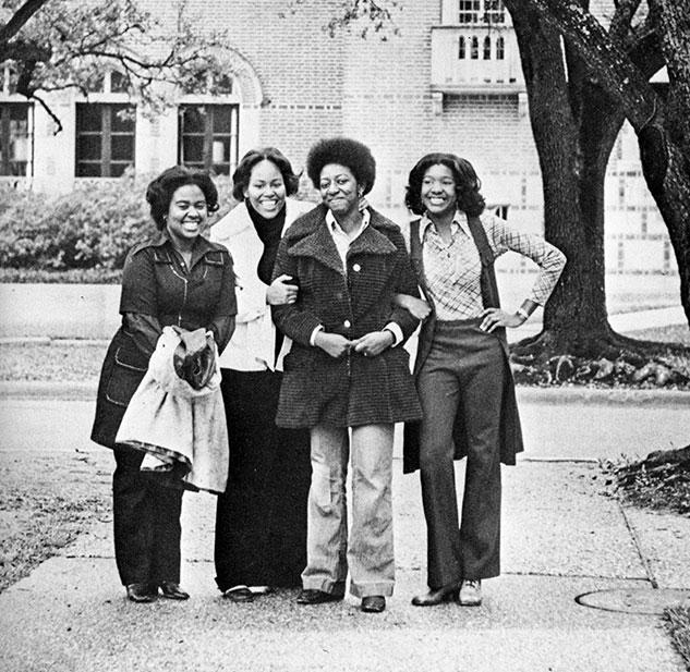 Pictured in the 1973 Campanile: Jan West '73, Althea Jones '75, Brenda James '74 and Regina Tippens '74