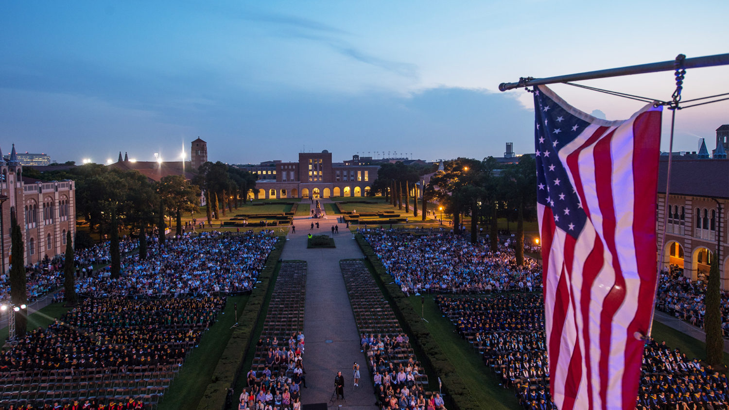 Rice campus at night during commencement