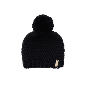 Pom Pom Hat in Black