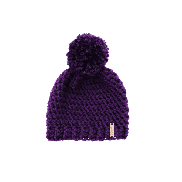 Pom Pom Hat in Purple