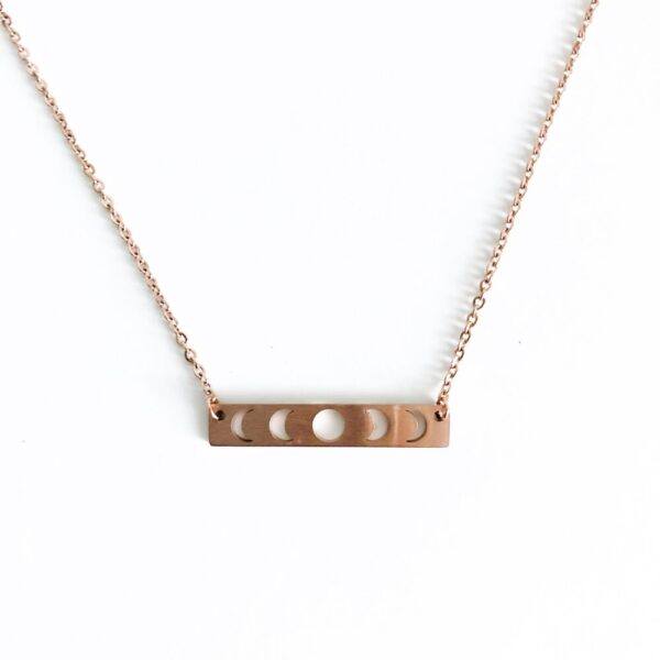 Moon Phase Necklace in Rose Gold