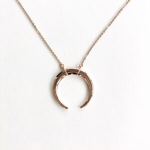 Rose Gold Inverted Moon Necklace