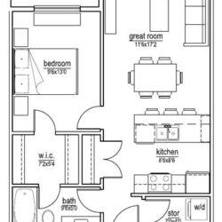 B1 unit – 1 bedroom (624 sf)