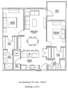 D Unit – 2 bed/2 bath interior (935 sf)