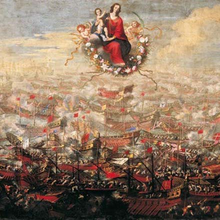 The battle of Lepanto with Mary of the Rosary above