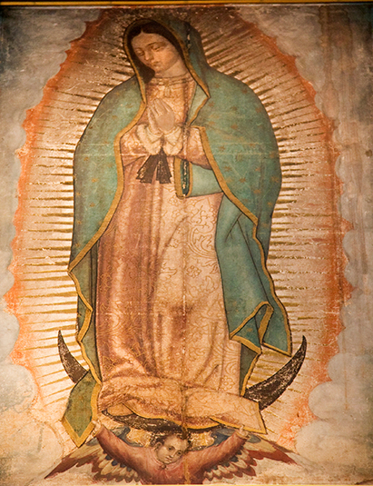 Virgin Mary Guadalupe Painting which was revealed by Indian Peasant Juan Diego in 1531 to Catholic Bishop, Shrine of the Guadalupe, Mexico City