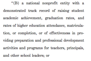 """Those in the education reform wars can probably name off a slew of """"national non-profits"""" who stand to gain on this one."""