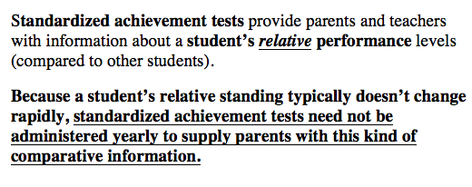 It was never appropriate to mandate yearly standardized tests under the pretense that it was for the good of the student and was to better inform the parent.