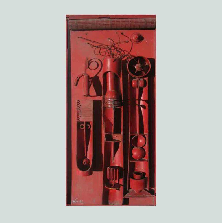 אדום, 1967, רדי מייד וצבע תעשייתי, 80 על 40 ס''מ  [הופיע בתערוכת קבוצת +10, גלריה כץ, תל אביב]