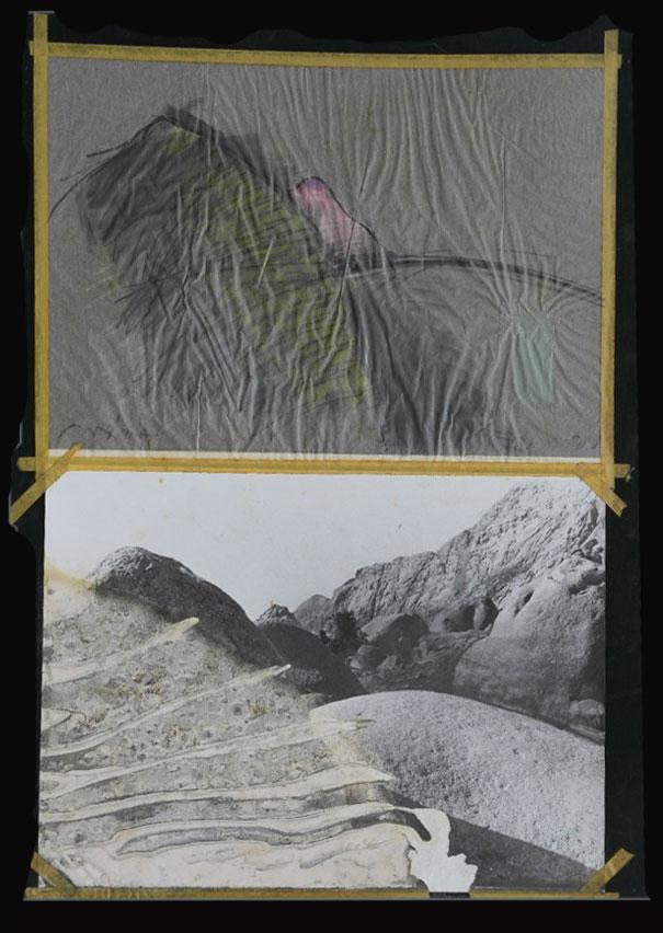 צל הרים 1978, נייר ותצלומים, 50 על 70 ס''מ [גלריה עמליה ארבל, תל אביב]