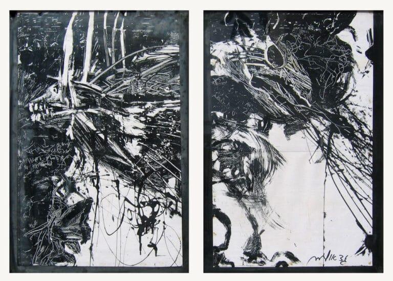 שדים, 1991, צבע תעשייתי על עץ, 40 על 80 ס''מ  [הופיע בתערוכת על הכוונת,גלריה טובה אוסמן, תל אביב]