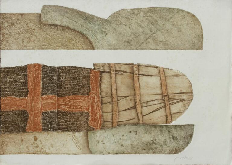 """מומיה 2, 1984, הדפס קולוגרף על נייר ארש, 78 על 56 ס""""מ [הוצג משכן עין חרוד]"""