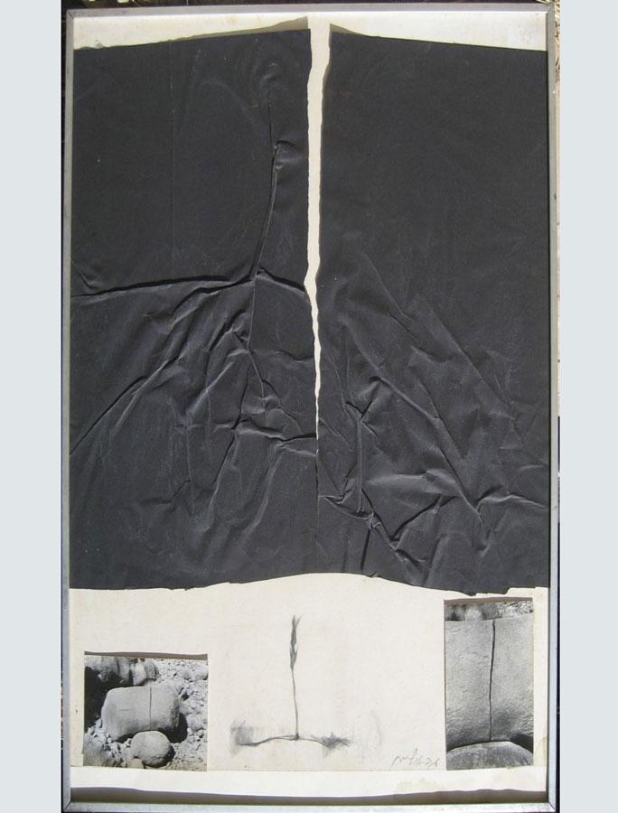 חתך בסלע 1978, נייר ותצלומים, 50 על 70 ס''מ [גלריה עמליה ארבל, תל אביב]