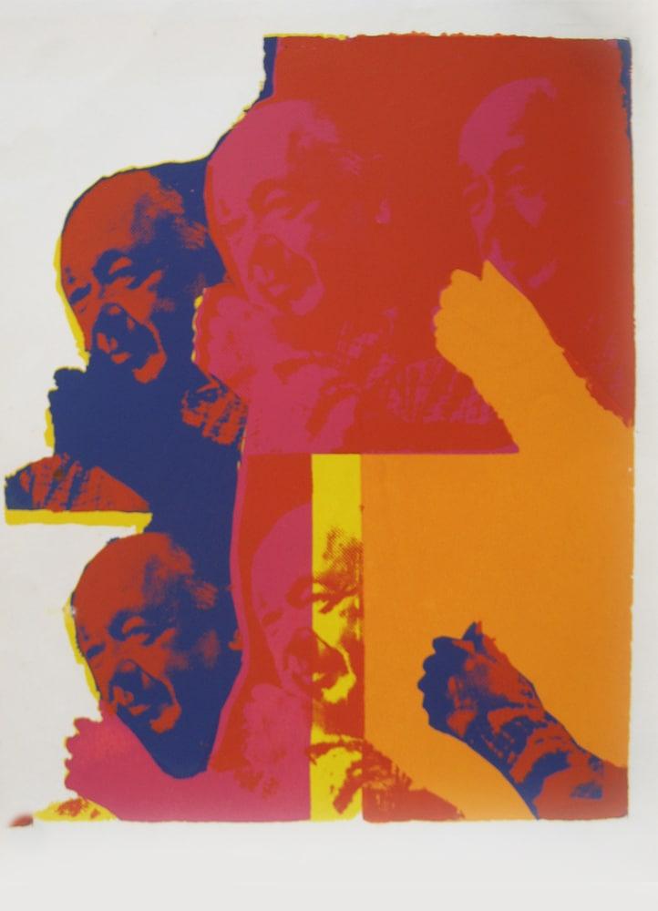 """מחווה לסארטר, 1969, הדפס רשת על נייר נטול עץ, 70 על 50 ס""""מ [הוצג בית האמנים, תל אביב]"""
