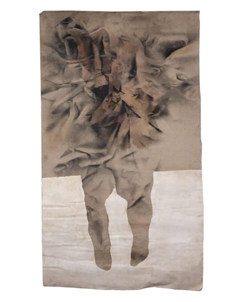 """טופוגרפיה, 2008, תרסיס על קנווס רפוי,70  על 120 ס""""מ, מוזיאון עירוני עפולה"""