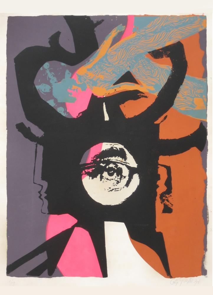 """נמלים 1969, הדפס רשת על נייר נטול עץ, 70 על 50 ס""""מ [הוצג בית האמנים, תל אביב]"""