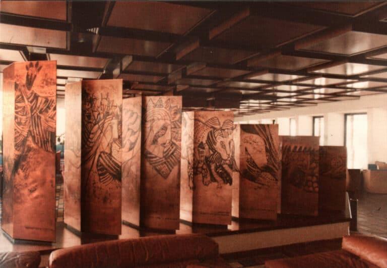 המלך שלמה, קירות פיסולים, תצריבי נחושת, מלון המלך שלמה, אילת, 1984