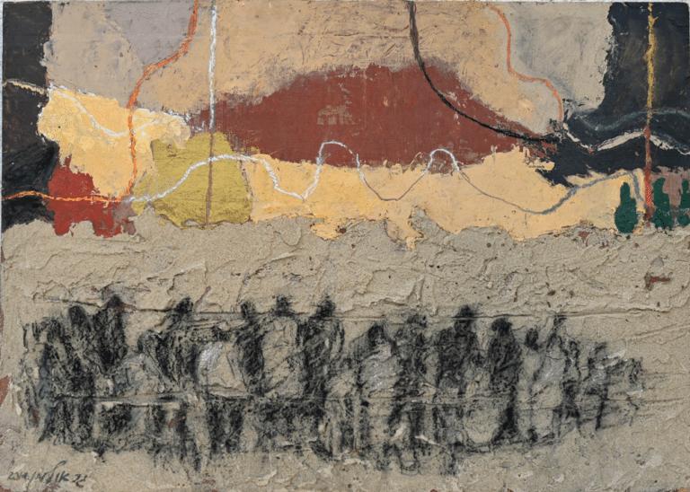 חולות תל אביב, 1906 2014, פחם, אקריליק וחול על אם.די.אף