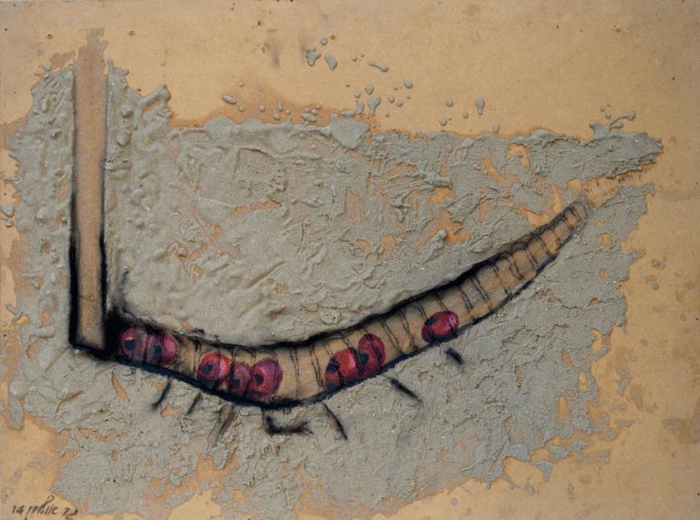 מנהרה, 2014, פחם, אקריליק וחול על אם.די.אף