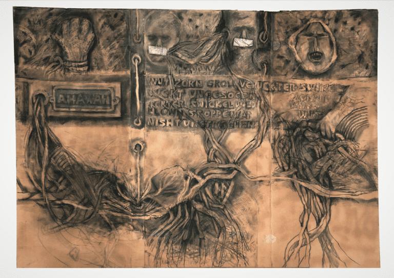שורשי המשפחה, 2012, פחם על נייר, 210 על 170 ס''מ