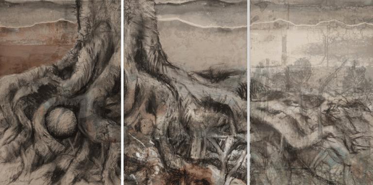 שורשים, 2016, פחם והדפס על עץ, 180 על 360 ס''מ,שגרירות ישראל, בואנוס איירס, ארגנטינה
