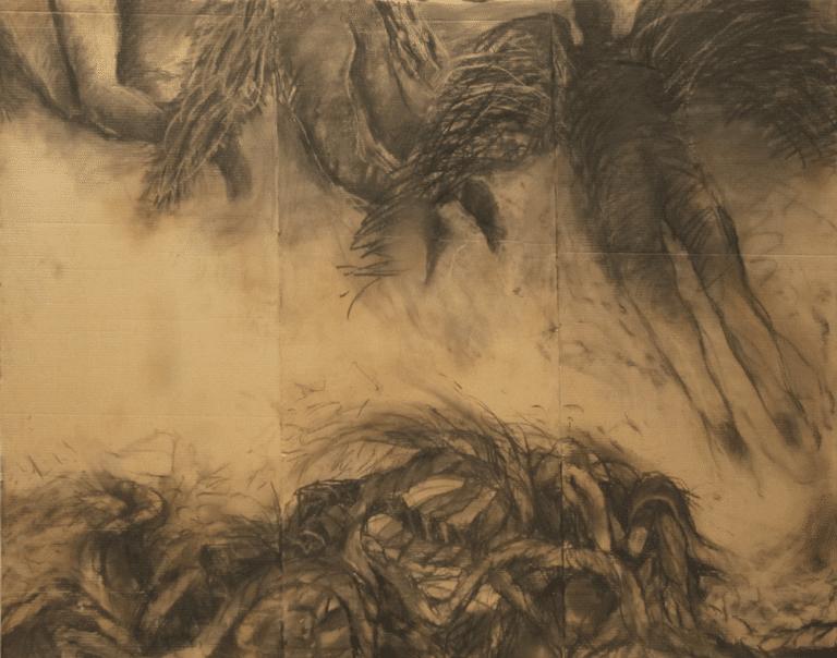"""איקרוס, 2012, פחם על קרטון, 210 על 170 ס""""מ [הופיע בתערוכת קשרים והקשרים, בית האמנים, תל אביב]"""