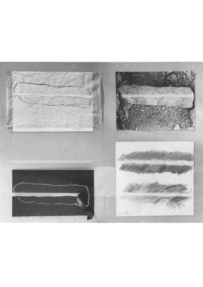 פס בסלע, 1978, נייר ותצלומים, 50 על 70 ס''מ [גלריה עמליה ארבל, תל אביב]