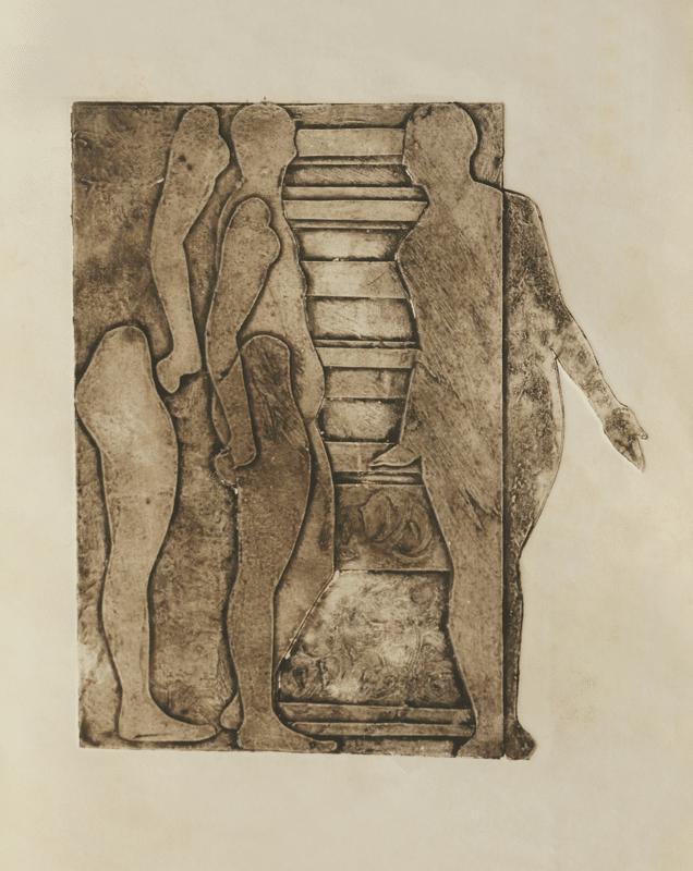 קולוגרף, 1978, לוח הדפסה מקרטון וכד', 30 על 40 ס''מ [מאוסף מוזיאון ישראל]