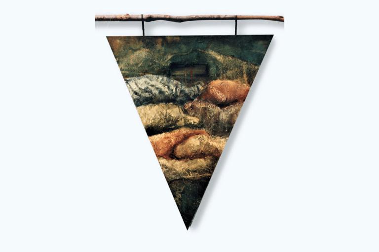 """טבח בלבנון, 1995, אקריליק על דיקט, 80 על 120 ס""""מ  [הופיע בתערוכת רעידת אדמה, גלריה נווה צדק, תל אביב]"""