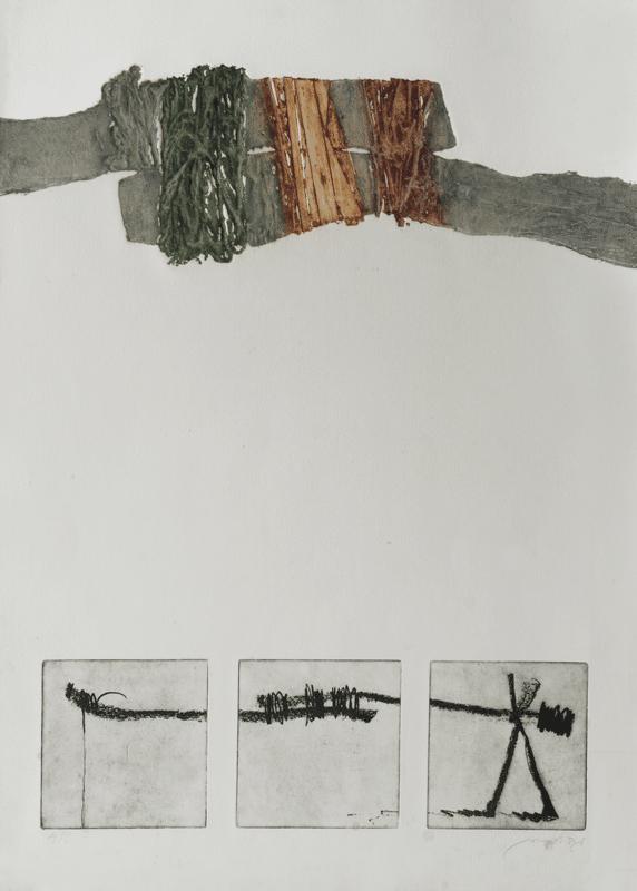 """מחסום, 1978, תצריב וקולוגרף, 78 על 56 ס""""מ, אוסף מוזיאון ישראל, ירושלים"""