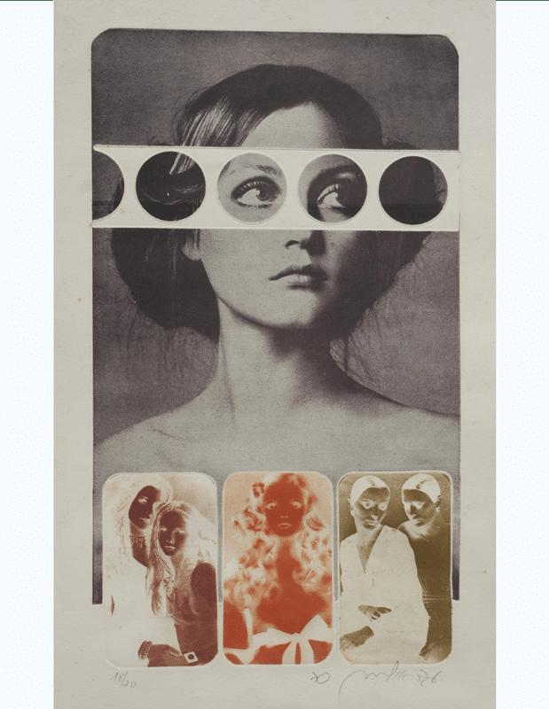 משקפיים לבנות, 1971, תצריב צילומי, 65 על 50 ס''מ, [הוצג במוזיאון תל אביב לאמנות]