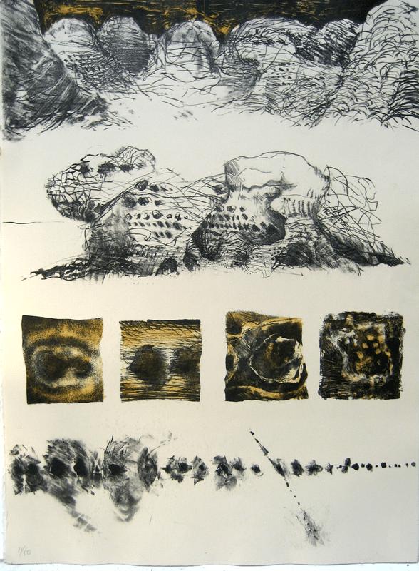 """חורים בסלע, 1978, ליתוגרפית אבן, 78 על 56 ס""""מ, אוסף מוזיאון ישראל, ירושלים"""