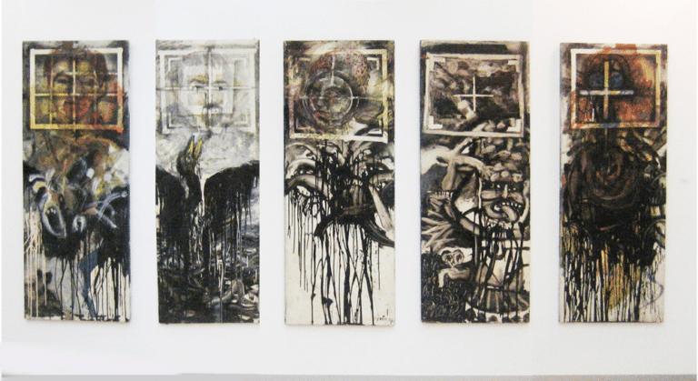 """על הכוונת, 1991, צבע תעשייתי על עץ, 5 לוחות עץ 60 על 200 ס''מ כ""""א  [הופיע בתערוכת על הכוונת,גלריה טובה אוסמן, תל אביב]"""