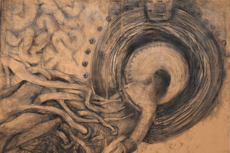 """אם.אר.איי, 2012, פחם על קרטון, 210 על 170 ס""""מ  הופיע בתערוכת קשרים והקשרים, בית האמנים - תל אביב"""
