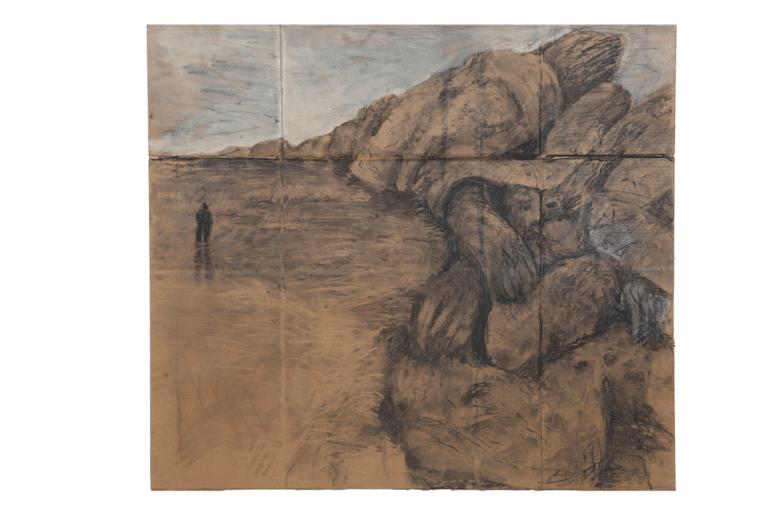 """חוף, 2012, פחם על קרטון,170 על 170 ס""""מ [הופיע בתערוכת קשרים והקשרים,בית האמנים, תל אביב]"""