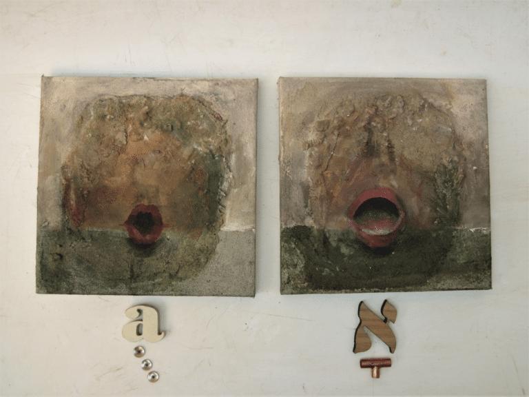 הבהרות, 2014, אקריליק וחול על קנווס, 20 על 20 ס״מ