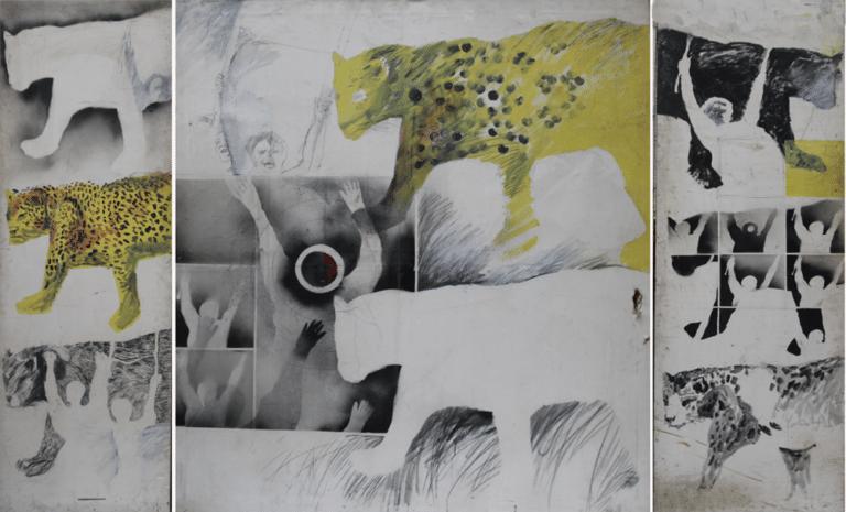 פנתרים שחורים, 1971, ציור בשלושה חלקים,  צבעי תרסיס ואקריליק, 120 על 240 ס''מ [בית האמנים, תל אביב]
