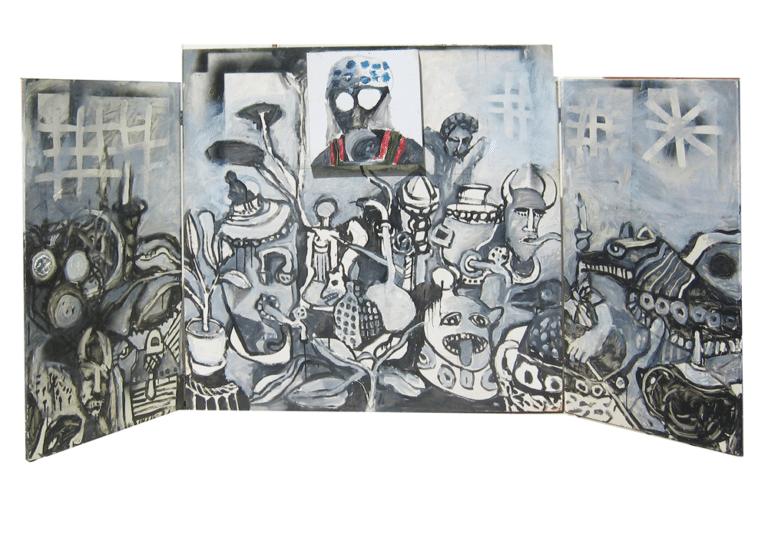חדר אטום, 1991, טריפטיכון, צבע תעשייתי על עץ 300 על 120 ס''מ במצב פתוח  [הופיע בתערוכת על הכוונת,גלריה טובה אוסמן, תל אביב]