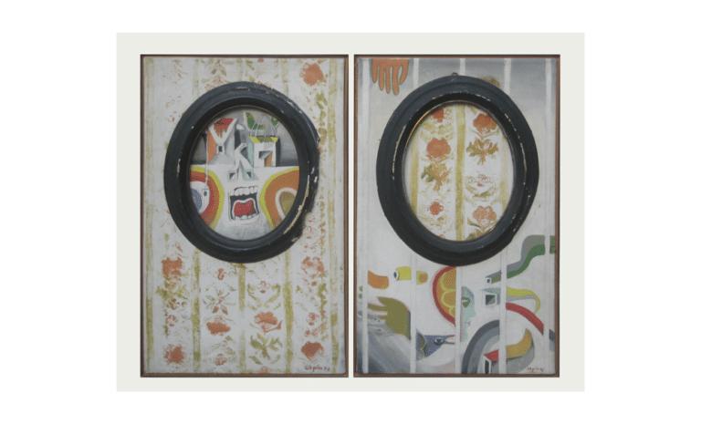 """פנים חוץ, 1970, ציור בשני חלקים, מסגרות ואקריליק, על בד,50 על 35 ס""""מ  [בית האמנים, תל אביב]"""