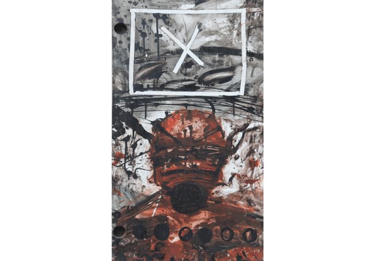 על הכוונת, 1991, פרט, צבע תעשייתי על עץ, 60 על 200 ס״מ  [הופיע בתערוכת על הכוונת,גלריה טובה אוסמן, תל אביב]