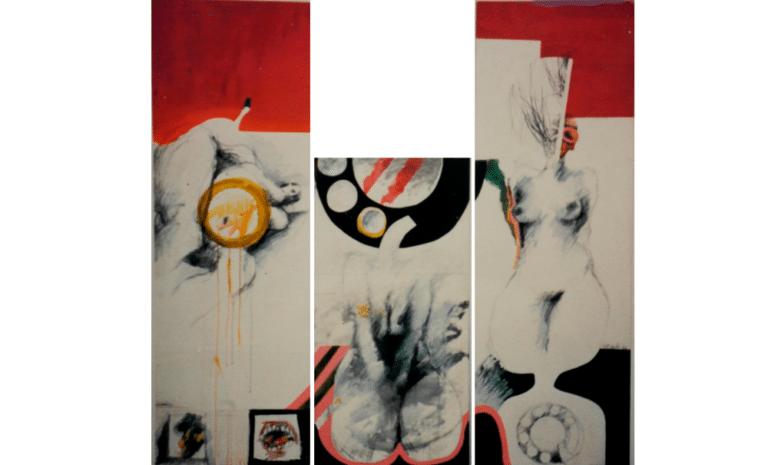 """צלצול, 1969, ציור בשלושה חלקים, תרסיס ואקריליק על דיקט,120 על 240 ס""""מ [בית האמנים, תל אביב]"""