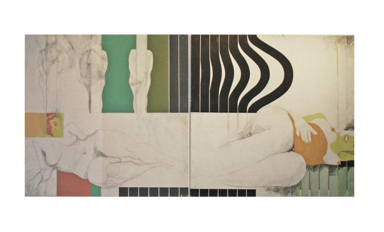 הריון, 1968, ציור בשני חלקים, אקריליק על דיקט, 120 על 240 ס''מ [בית האמנים, תל אביב]